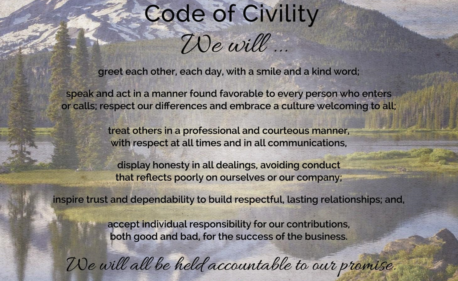 create your company code of civility